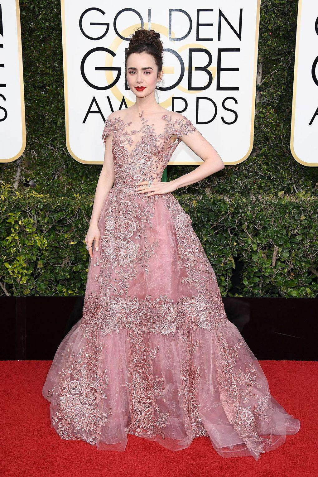 The Best Dressed from Golden Globe Awards - Lily Collins